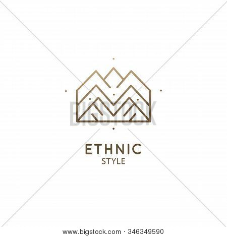 Abstract Mountains, Logo Nature Geometric Elements. Square Sacred Symbol Of Nature. Outline Icon Of