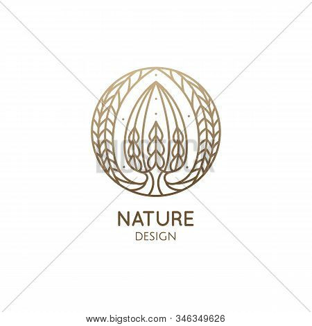 Euphorbia Obesa. Succulent Logo Template. Vector Emblem Of Blossoming Cactus Or Subtropical Plant In