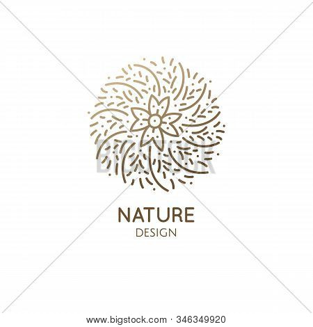 Cactus Logo Template Mandala. Vector Round Emblem Of Blossoming Succulent, Subtropical Plant. Garden