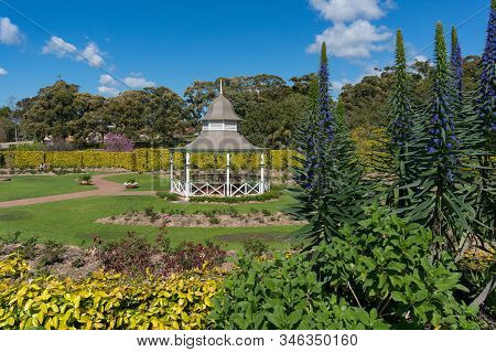 Summer Pavilion In Public Garden With Lush Spring Plants. Outdoor Park Landscape With Tropical Plant