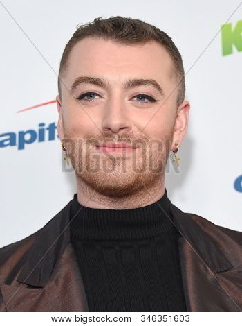 LOS ANGELES - DEC 06:  Sam Smith arrives for the KIIS FM Jingle Ball 2019 on December 06, 2019 in Los Angeles, CA
