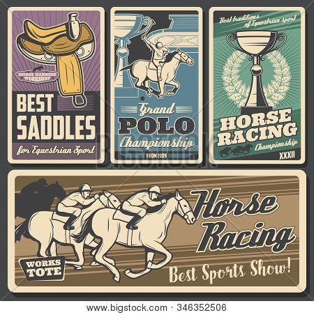 Horse Racing, Polo. Equestrian Sport Retro Vector Cards. Riding Club, Equestrian Sport Racehorse. Jo