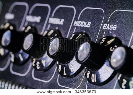 Analog Level Knob Reverb. Sound Mixer In The Studio, Automatic Knobs On The Remote Left To Right.