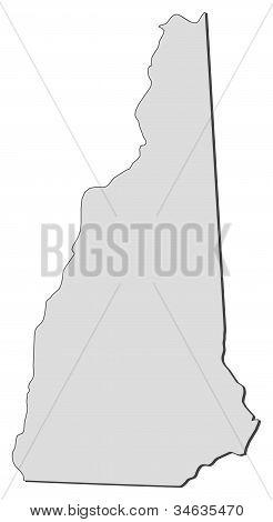 Karta i New Hampshire (USA)