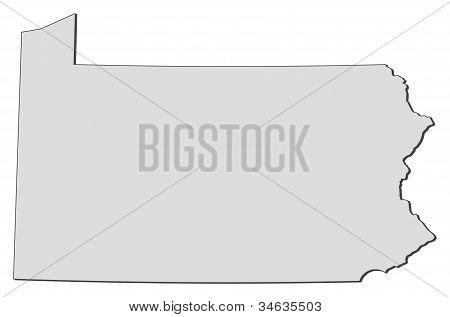 Karta av Pennsylvania (USA)