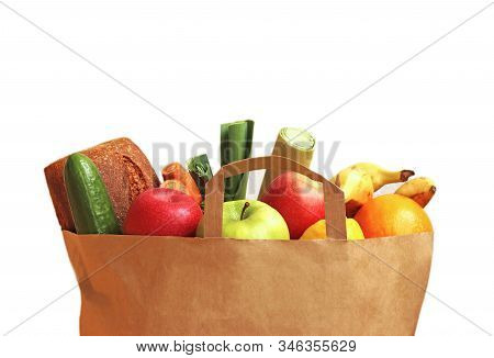 Paperbag With Healthy Food Like Fruit, Vegetables And Wholegrain Bread