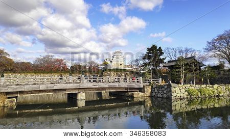 Himeji, Japan- 30 Nov, 2019: Beautiful White Himeji Castle In Autumn Season In Hyogo Prefecture, Jap
