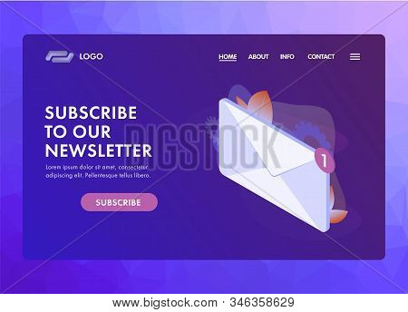 Subscribe To Our Newsletter Ui Ux Web Template Or Landing Page Vector Illustration. Isometric Mail E