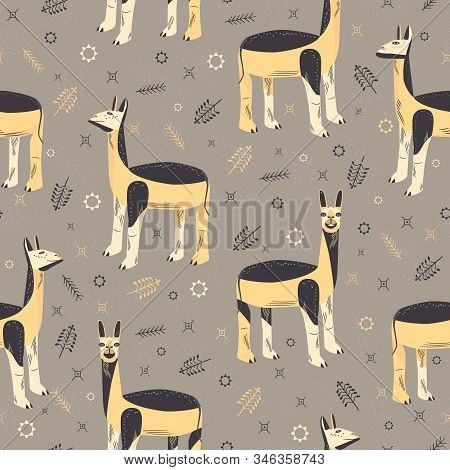 Seamless Pattern With Unusual Lamas. Llamas With Different Facial Expressions. Yellow Black Animals
