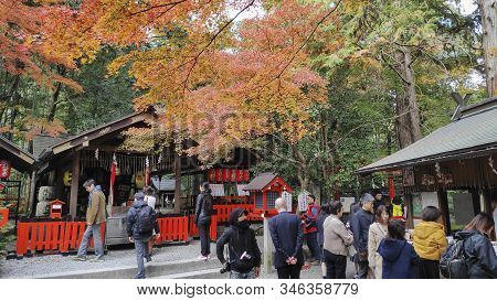 Kyoto, Japan-26 Nov, 2019: Tourists Visit To Nonomiya-jinja In Kyoto. A Shinto Shrine In The Arashiy