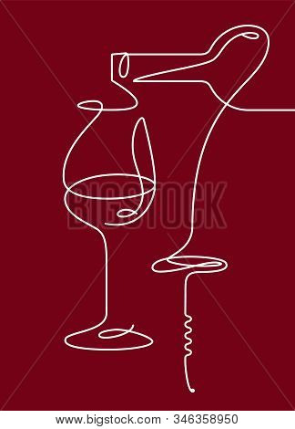 Single Outline Drawing With A Bottle, Wine Glass, And A Corkscrew. Continuous Line On A Dark Backgro
