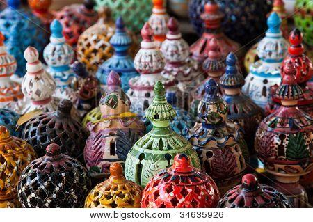Tunisian Lamps At The Market In Djerba Tunisia