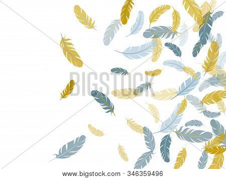 Glamour Silver Gold Feathers Vector Background. Plumage Fluff Dreams Symbols. Lightweigt Plumelet Wi
