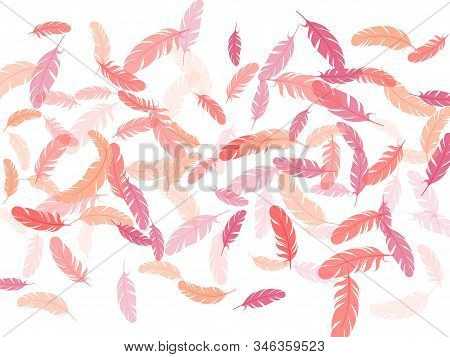 Colorful Pink Flamingo Feathers Vector Background. Wildlife Nature Isolated Plumage. Quill Plumelet