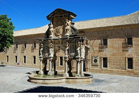 Baeza, Spain - July 28, 2008 - View Of The Santa Maria Fountain With St Philip Neri Seminary Univers