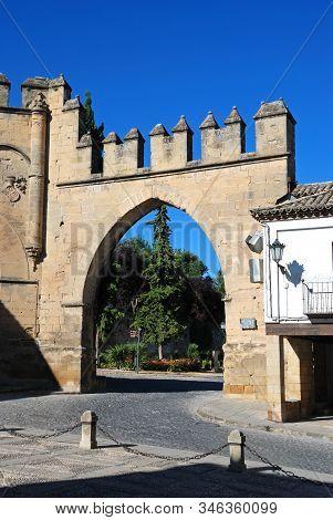Baeza, Spain - July 28, 2008 - View Of The Puerta De Jaen Built In 1521 In The Plaza De Populo, Baez