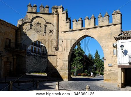 Baeza, Spain - July 28, 2008 - View Of The Arco De Villalar With The Puerta De Jaen To The Right In