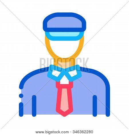 Custom Police Man Icon Vector. Outline Custom Police Man Sign. Isolated Contour Symbol Illustration