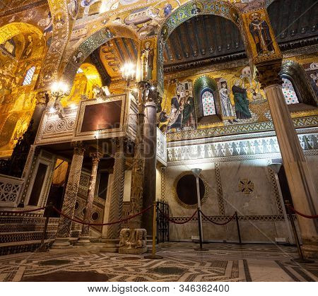 Palermo, Italy - December, 19: Royal Chapel Of The Norman Palace In Palermo, Called Cappella Palatin