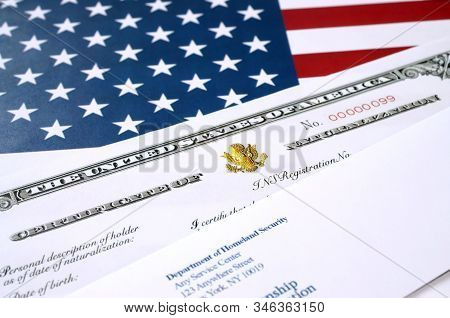 N-550 United States Naturalization Certificate Of Citizenship And Envelope From Department Of Homela