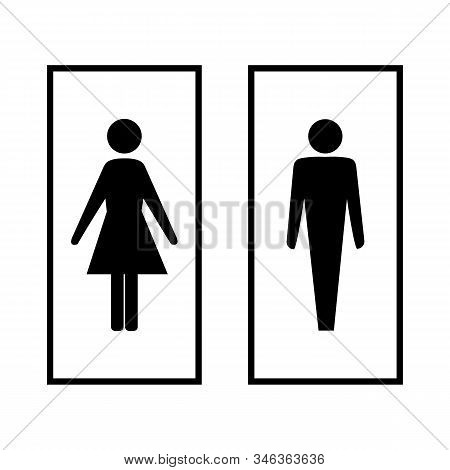 Black Silhouette Men And Women Icon In White Rectangle. Sign Restroom Women And Men. Icon Public Toi