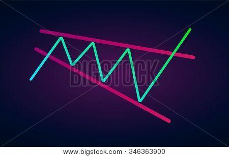 Descending Broadening Wedge Pattern - Bullish Formation Figure, Chart Technical Analysis. Vector Sto