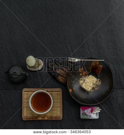 Japanese Tradiitonal Snack : Warabi Mochi Assortment With Tea Traditional Japanese, Japanese Confect