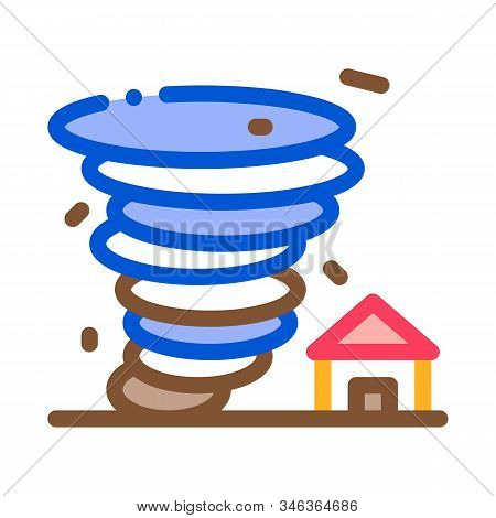 Tornado House Icon Vector. Outline Tornado House Sign. Isolated Contour Symbol Illustration