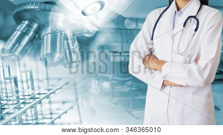 The Doctor With Liquid To Test Tube And Laboratory, Medical Services , Medical Technology Concept .
