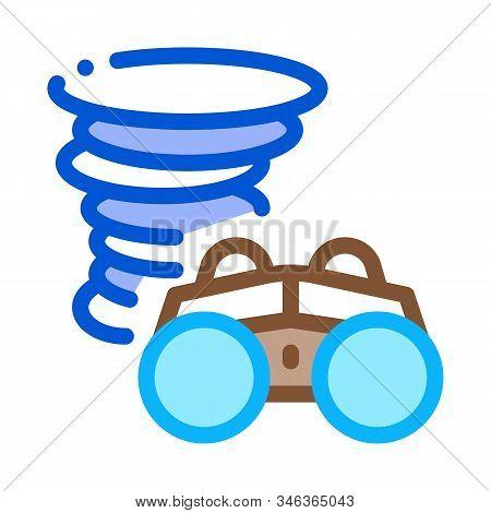 Binocular Tornado Icon Vector. Outline Binocular Tornado Sign. Isolated Contour Symbol Illustration