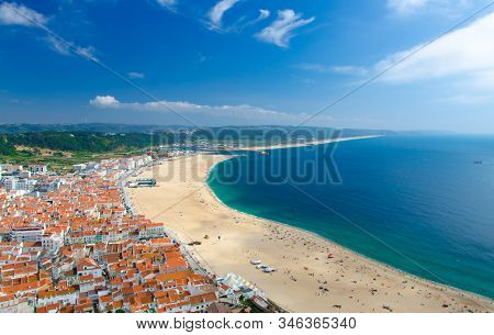 Portugal, Panoramic View Of Nazare In Summer, Mountain Landscape With Dense Greenery In The Backgrou