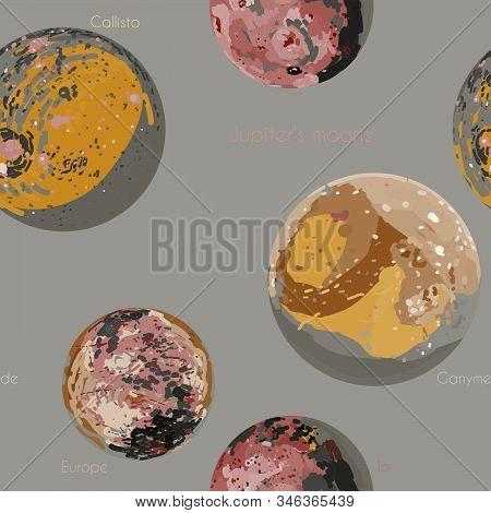 Jupiter's Moons - Europa, Io, Callisto, Ganymede. Space Planets Vector Illustration.