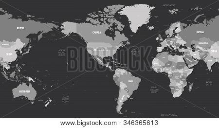 World Map - America Centered. Grey Colored On Dark Background. High Detailed Political Map Of World