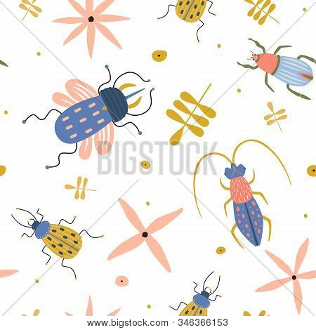 Seamless Pattern With Funny Insects On White Isolated Background. Beetles, Bugs, Ground Beetle, Hexa
