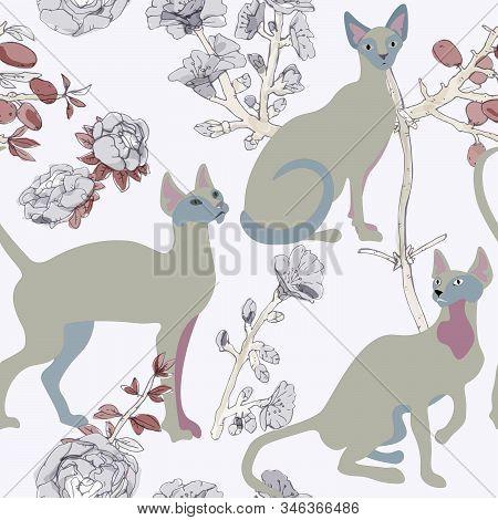 Three White Siamese Or Sphinx Cats In Sakura Flowers On A Light Background Seamless Vector Illustrat