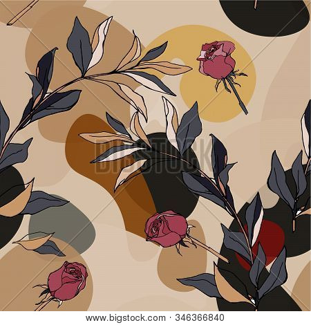 Seamless Pattern With White Roses And Leaves On Bordo Background. Tropical Flowers, Lily. Vector Ill