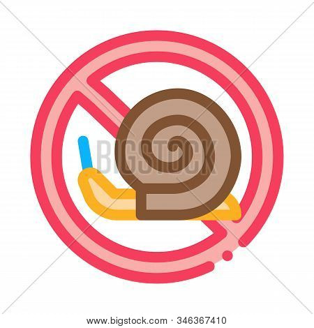 Crossed Snail Icon Vector. Outline Crossed Snail Sign. Isolated Contour Symbol Illustration