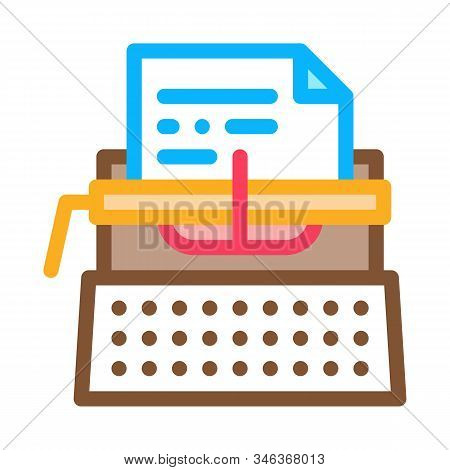 Writer Typewriter Icon Vector. Outline Writer Typewriter Sign. Isolated Contour Symbol Illustration