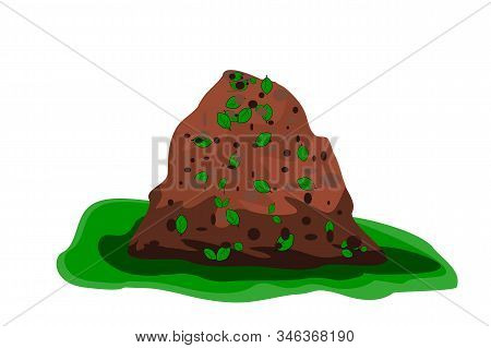 Pile Of Soil Isolated On White Background. Heap Of Earth, Organic Fertilizer, Compost. Hill Of Brown
