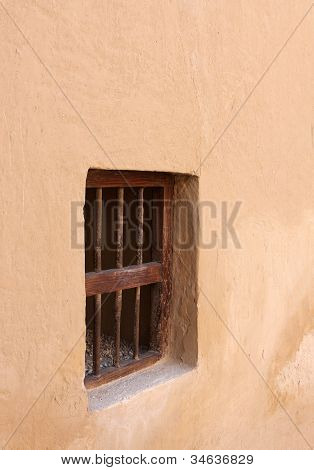 Small window in the wall inside Riffa fort Bahrain