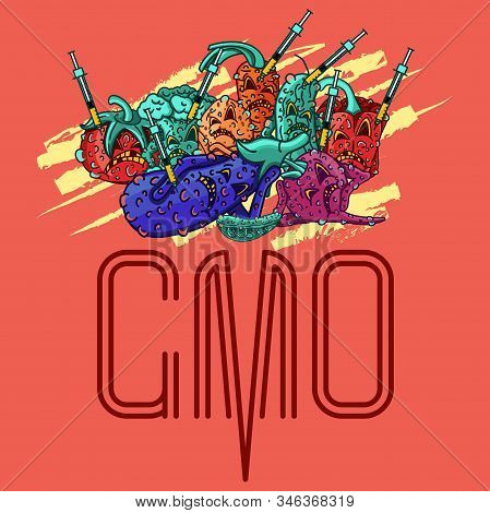 Set Of Vector Illustrations Gmo Products. Junk Food. Mutant Products. Gmo Syringe. Vegetables Charac