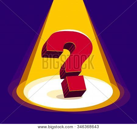 Question Mark Under Highlights Of Stage Spotlight Vector 3d Illustration.