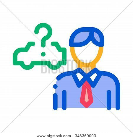 Buyer Chooses Car Icon Vector. Outline Buyer Chooses Car Sign. Isolated Contour Symbol Illustration