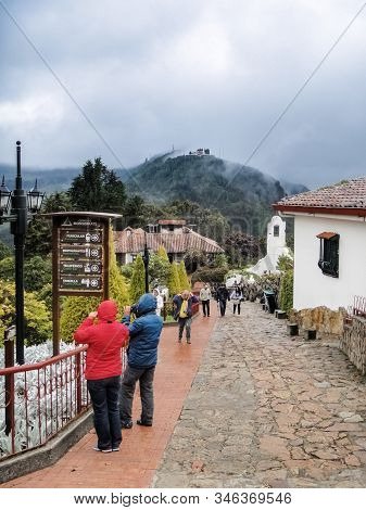 Bogota, Colombia - August 02, 2014: People Visiting The Montserrate Mountain, A High Mountain Over 1