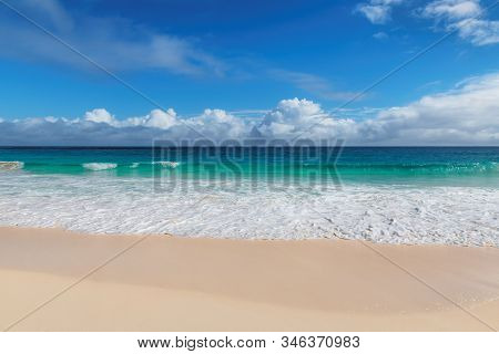 Tropical Beach Background In Jamaica Paradise Island.