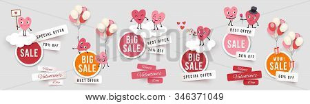 Valentines Day Sale Set Round Banners, Paper Cut Stickers With Funny Characters Animated Hearts. Col