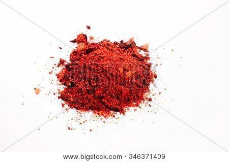 Mixed Colorful Hot Spices Isolated On White Background. Paprika, Pepper, Garlic, Onion, Salt. Differ