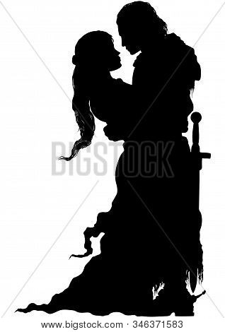 Romantic Medieval Embracing Couple Silhouette. Woman And A Knight With A Sword