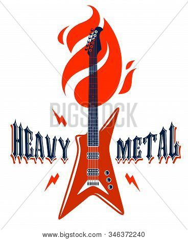 Heavy Metal Emblem With Electric Guitar Vector Logo, Concert Festival Or Night Club Label, Music The