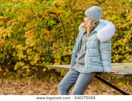 Warm Knitwear. Feel Practicality And Comfort. Woman Enjoy Autumn Season In Park. Clothes For Rest. G